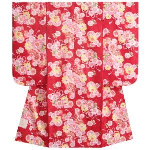 七五三 着物 7歳 女の子四つ身着物 赤色 桜 ぼたん菊 桜地紋|doresukimono-kyoubi