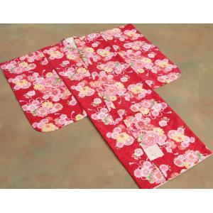 七五三 着物 7歳 女の子四つ身着物 赤色 桜 ぼたん菊 桜地紋|doresukimono-kyoubi|02