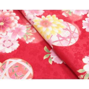 七五三 着物 7歳 女の子四つ身着物 赤色 桜 ぼたん菊 桜地紋|doresukimono-kyoubi|03