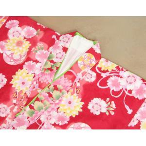 七五三 着物 7歳 女の子四つ身着物 赤色 桜 ぼたん菊 桜地紋|doresukimono-kyoubi|04