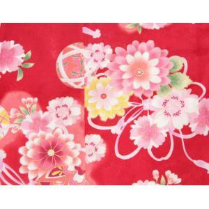 七五三 着物 7歳 女の子四つ身着物 赤色 桜 ぼたん菊 桜地紋|doresukimono-kyoubi|05