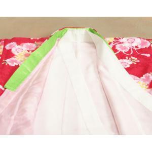 七五三 着物 7歳 女の子四つ身着物 赤色 桜 ぼたん菊 桜地紋|doresukimono-kyoubi|06