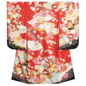 七五三 着物 7歳 女の子 四つ身着物 式部浪漫 赤地色 百花繚乱 鶴 サヤ地紋生地 日本製