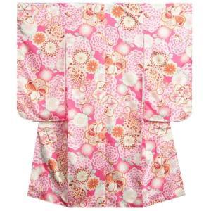 七五三着物 7歳女の子四つ身着物 赤色 桜 芍薬 華珠柄 桜地紋 |doresukimono-kyoubi