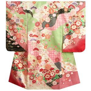七五三 着物 7歳 女の子 四つ身着物 フロム京都ブランド 濃淡黄緑ピンク染め分け まり 刺繍牡丹菊 ぼかし地紋生地