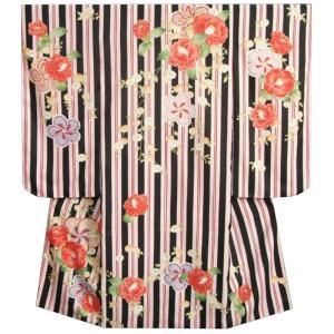 七五三着物7歳 女の子四つ身着物 式部浪漫神楽KAGURA 黒ピンク赤縞 椿 捻り梅 サヤ地紋生地 日本製