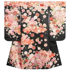 七五三 着物 7歳 女の子四つ身着物 黒色 桜 芍薬 華珠柄 桜地紋 |doresukimono-kyoubi
