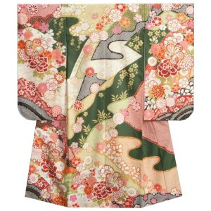七五三 着物 7歳 女の子 四つ身着物 式部浪漫 濃緑色地 華尽くし 金糸刺繍 疋田友禅柄 日本製