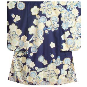 七五三 着物 7歳 女の子 四つ身着物 日本橋HAIBARA 白色 七宝 捻り梅 玉手箱 地紋生地