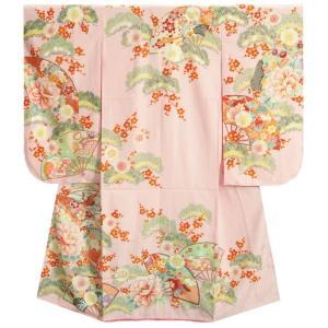 七五三 着物 7歳 女の子 四つ身着物 乙葉ブランド 淡ピンク 檜扇 扇面 松竹梅 地紋生地