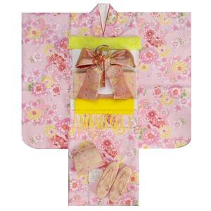 七五三 着物 7歳 着物フルセット ピンク色地着物 牡丹菊 ピンク帯セット 足袋に腰紐など20点フルセット