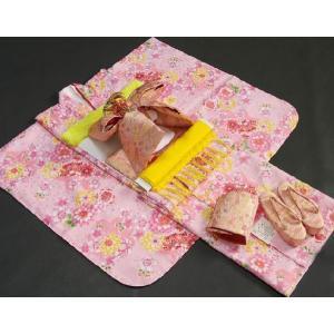 七五三 着物 7歳 着物フルセット ピンク色地着物 牡丹菊 ピンク帯セット 足袋に腰紐など20点フルセット doresukimono-kyoubi 02