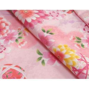 七五三 着物 7歳 着物フルセット ピンク色地着物 牡丹菊 ピンク帯セット 足袋に腰紐など20点フルセット doresukimono-kyoubi 03