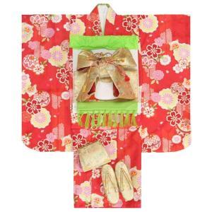 七五三 着物 七歳着物フルセット 赤色地着物 緑帯セット 足袋に腰紐など20点セット|doresukimono-kyoubi