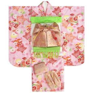 七五三 着物 7歳 着物セット ピンク地着物 捻り梅 ゴールド帯セット 足袋に腰紐など20点セット|doresukimono-kyoubi