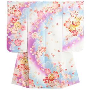 七五三 着物 7歳 女の子 四つ身着物 白地 濃淡青水色ぼかし流れ染め 重ね桜 日本製
