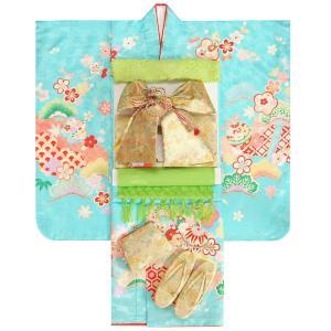 七五三 着物 7歳 女の子 着物フルセット 水色地着物 桜重ね 絵羽柄 金襴友禅文様帯セット 足袋に腰紐など20点フルセット 日本製