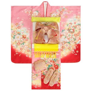 七五三 着物 7歳 女の子 着物フルセット ピンク色地着物 花車 絵羽柄 ピンク流水文様帯セット 足袋に腰紐など20点フルセット 日本製