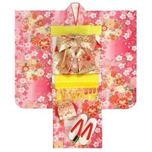 七五三着物7歳 着物フルセット マユミブランド 濃淡ピンク色ぼかし着物 ゴールド市松帯セット 大小桜柄 足袋に腰紐など20点フルセット