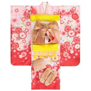 七五三 着物 7歳 着物フルセット 紅ピンク染分け切替着物 流れぼかし ピンク縮緬友禅地帯セット 足袋に腰紐など20点フルセット
