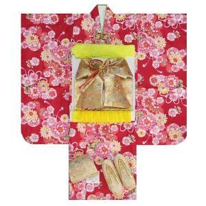七五三着物7歳 着物フルセット 赤色地着物 牡丹菊 ゴールド帯セット 足袋に腰紐など20点フルセット