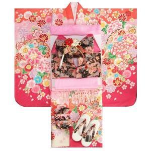 七五三 着物 7歳 女の子 着物フルセット フロム京都ブランド 濃淡ピンク染め分け着物 刺繍牡丹 雪輪 黒ちりめん友禅柄帯セット 足袋に腰紐など20点フルセット