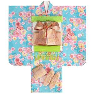 七五三 着物 7歳 着物フルセット 水色地着物 ピンク帯セット 牡丹菊 足袋に腰紐など20点フルセット