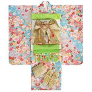 七五三 着物 7歳 着物フルセット 水色地着物 桜 牡丹 雪輪疋田 ゴールド帯セット 足袋に腰紐など20点フルセット|doresukimono-kyoubi