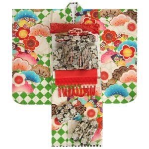 七五三 着物 7歳 女の子 着物フルセット JAPANSTYLE×松坂大輔 緑色 菱市松 黒地白梅桜柄帯セット 足袋に腰紐など20点セット