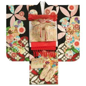 七五三着物7歳 着物フルセット 黒地着物 華珠柄 ゴールド帯セット 足袋に腰紐など20点フルセット|doresukimono-kyoubi