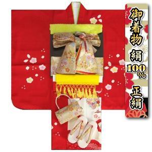 七五三 着物 7歳正絹着物フルセット 赤 本絞り 刺繍華輪金彩 金襴地重ね仕立て帯セット 足袋に腰紐など20点セット 日本製