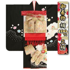 七五三 着物 7歳 正絹 着物フルセット 黒 本絞り 刺繍牡丹金彩 赤地重ね仕立て帯セット 足袋に腰紐など20点セット 日本製