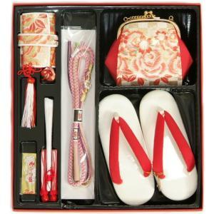 七五三 小物 着物用箱セコセット 7歳用 ゴールド市松柄 バッグに草履の付いた6点セット 日本製|doresukimono-kyoubi