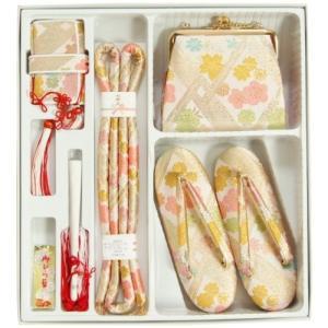 七五三着物7歳用 箱セコセット ベージュピンク 桜有職文様 草履バッグ6点セット 日本製|doresukimono-kyoubi