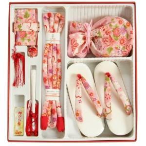 七五三 小物 着物用箱セコセット 7歳用 ピンク白ぼかし ちりめん生地 バックに草履の付いた6点セット 日本製|doresukimono-kyoubi