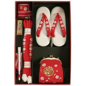 七五三 小物 着物用箱セコセット 7歳用 赤 まり刺繍 ちりめん生地 バッグに草履の付いた6点セット 日本製|doresukimono-kyoubi