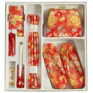 七五三着物用箱セコセット 7歳用 赤 友禅柄 草履バッグ6点セット 日本製|doresukimono-kyoubi