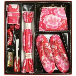 七五三 小物 着物用箱セコセット 筥迫セット 7歳用 濃淡ピンクグラデーション 胡蝶蘭 牡丹 バッグに草履の付いた6点セット 日本製