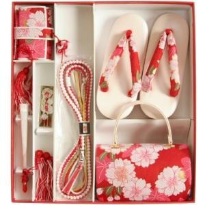 七五三 小物 着物用草履バッグ箱セコセット 筥迫セット 7歳用 赤色 八重桜柄 七宝地紋生地 バッグに草履の付いた6点セット 日本製