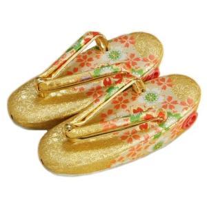 七五三 草履単品 3〜5歳用 金襴色 四季桜文様 かかと鈴使い 中サイズ 日本製