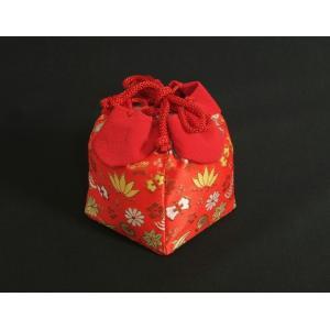 七五三 きんちゃく単品 巾着 3歳 7歳 赤地色 宝尽くし文様 日本製|doresukimono-kyoubi|02