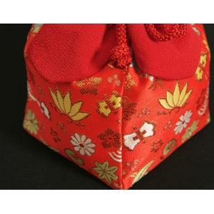 七五三 きんちゃく単品 巾着 3歳 7歳 赤地色 宝尽くし文様 日本製|doresukimono-kyoubi|03
