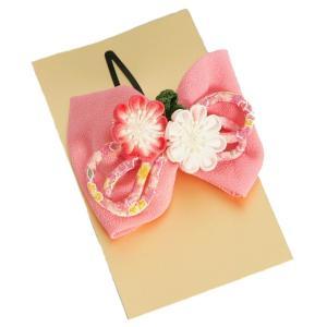 髪飾り 七五三着物 成人式振袖 卒業袴 に最適な和タイプ 濃淡ピンク ちりめん地 りぼん型 パール飾り付 クリップピンタイプ 日本製|doresukimono-kyoubi
