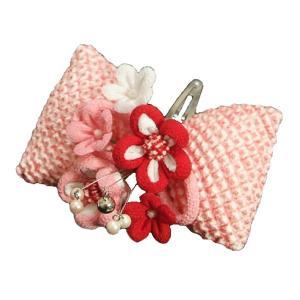 髪飾り 七五三着物 成人式振袖 卒業袴 に最適な和タイプ 正絹絞り生地使用 ピンク クリップピンタイプ 日本製
