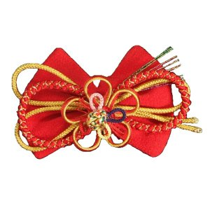 髪飾り 七五三着物 卒業袴 に最適な和タイプ リボン 赤色 帯締め飾り クリップピンタイプ