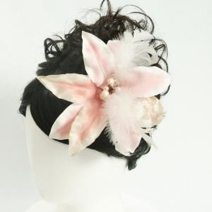 髪飾り 成人式 振袖 七五三着物 卒業袴 ドレスにも使えます ピンクホワイトハイビスカス コームタイプ 日本製|doresukimono-kyoubi
