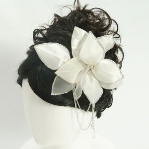 髪飾り 成人式 振袖 七五三着物 卒業袴 ドレスにも使えます ホワイト コームタイプ 日本製|doresukimono-kyoubi