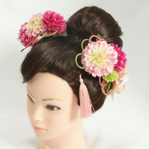 髪飾り 成人式 振袖 七五三着物 卒業袴 ドレスにも使えます 濃淡ピンクパープル 3点セット 牡丹菊 コーム・ピンタイプ 日本製