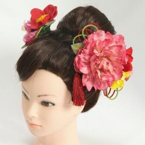 髪飾り 成人式 振袖 七五三着物 卒業袴 ドレスにも使えます 濃ピンク 赤 3点セット 牡丹華 椿 コーム・ピンタイプ 日本製