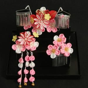 髪飾り 七五三着物 成人式振袖 卒業袴 に最適な和タイプ 3点セット ピンク ちりめん地 桜垂れ飾り かんざしピンタイプ 日本製
